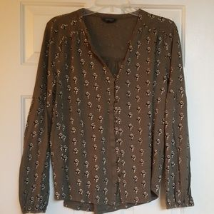 Lucky Brand Olive Green Button Up Blouse